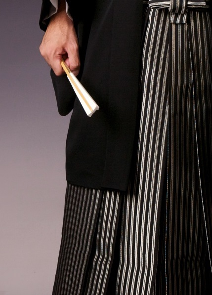 黒紋付 銀縞袴の柄