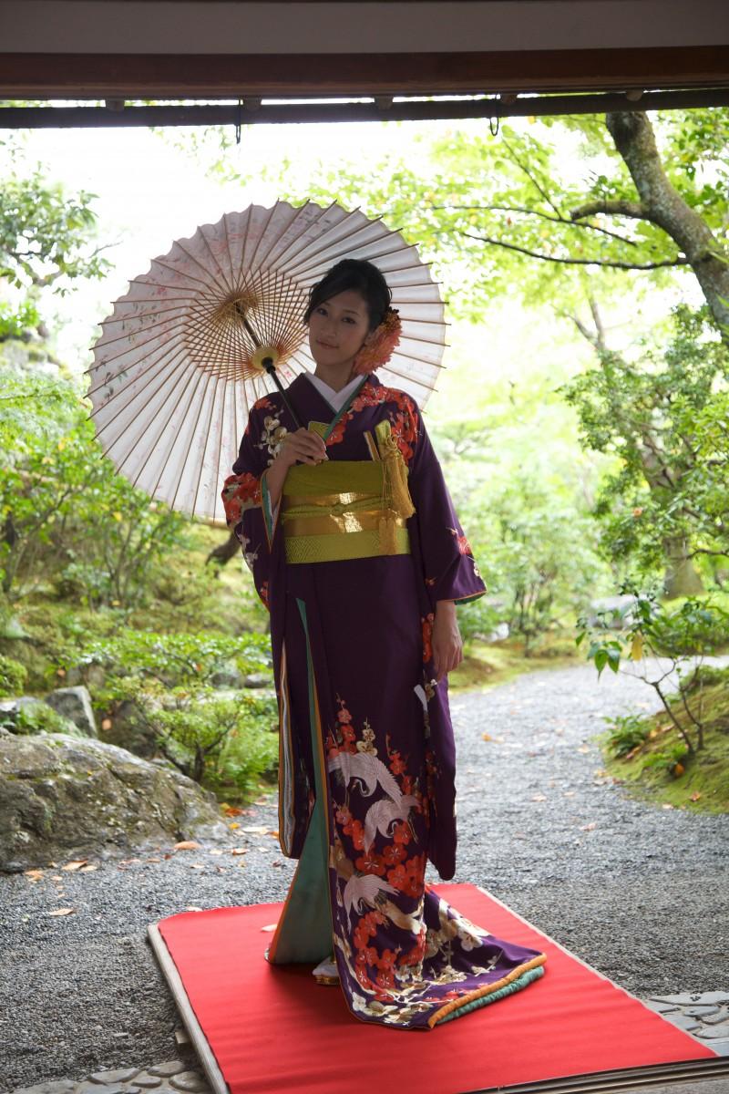 紫地 手刺繍 梅に鶴の写真001