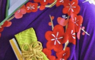 紫地 手刺繍 梅に鶴の柄