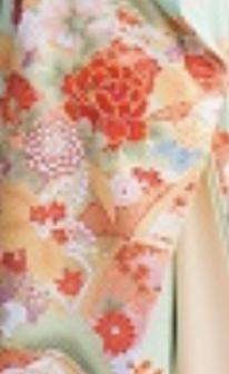 淡グリーンピンク四季草花の柄